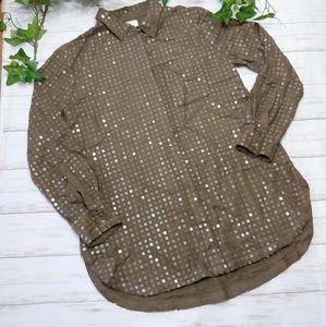 Anthropologie Maeve Olive Sequin Tunic